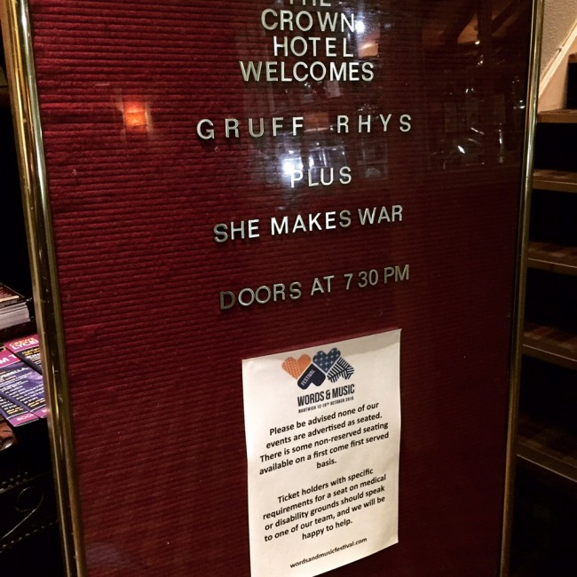 Gig Report - Supporting the mighty Gruff Rhys at Words And Music Festival, Nantwich - 15.10.15 5