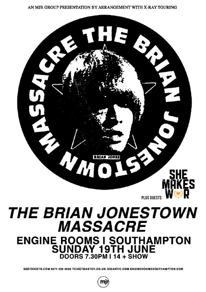 She Makes War to support The Brian Jonestown Massacre in Bristol and Southampton next month! 1