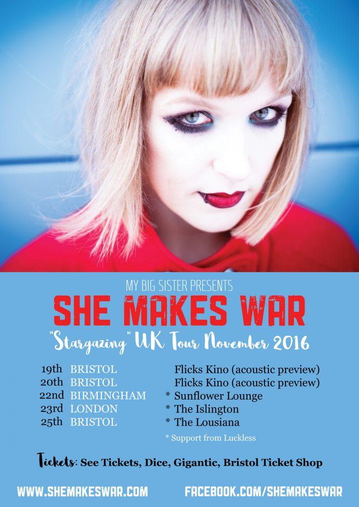 "Tickets on sale now for ""An Evening with She Makes War"" - Birmingham, London and Bristol shows in November 1"